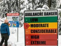 En snowshoer som ser det varnande tecknet för lavin, medan starta slingan för Bowen öutkik på cypressberget royaltyfri bild