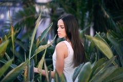 En snygg ung kvinna poserar på det naturliga ljust - gräsplansidabakgrund Den härliga flickan i parkera Royaltyfria Bilder