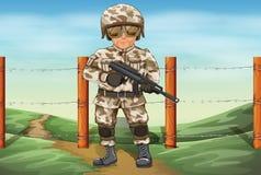 En soldat som rymmer ett vapen royaltyfri illustrationer