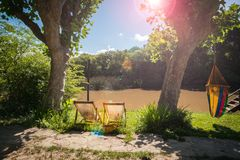 En solig sommardag i Tigre, precis nord av Buenos Aires, Argentina royaltyfri foto