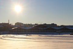 En solig vinterdag i LuleÃ¥ Fotografering för Bildbyråer