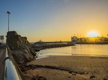 En solnedgångsikt på Puerto de Mogà ¡ n, Gran Canaria royaltyfri bild