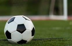 En soocer eller en fotboll p? ett f?lt av gr?splan med m?l i bakgrund royaltyfri foto