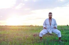 En spenslig man är förlovad i karate på solnedgången, fritt utrymme för dig royaltyfri fotografi