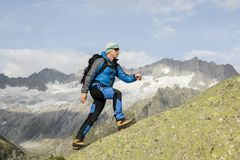 En sportig alpinist klättrar en bergtoppmöte i de schweiziska fjällängarna Arkivfoton