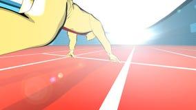 En sprinter som startar ett lopp i ett Olympic Stadium Royaltyfria Bilder