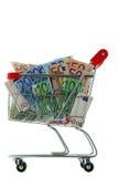 En spårvagn för shoppingvagn mycket av eurosedeln Arkivfoton