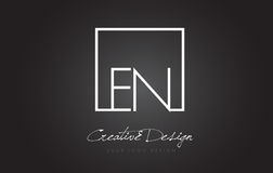 EN Square Frame Letter Logo Design with Black and White Colors. Stock Photography