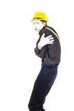 En stående av en man, en skådespelare, en pantomim, en man gör a Fotografering för Bildbyråer