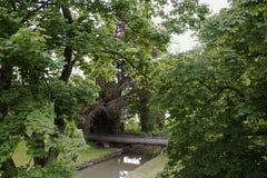 En stad parkerar i Maastricht, Nederländerna En överbrygga över en flod Royaltyfria Bilder