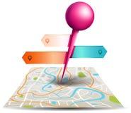 En stadsöversikt med digital punkt för satellitgps-stift med färgrika lodisar Arkivfoto