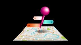 En stadsöversiktsanimering med digitalt läge för symbol för tecken för punkt för satellitgps-stift med färgrika emblem- och etike royaltyfri illustrationer