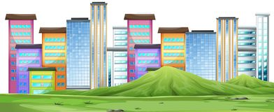 En stads- stadsplats stock illustrationer