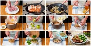 En steg-för-steg collage av framställning av långsamt lagat mat griskött Fotografering för Bildbyråer