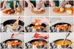 En steg-för-steg collage av soppa för danandemorotkräm royaltyfria foton