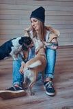 En stilfull tattoed blond kvinnlig i t-skjorta och jeans sitter på ett trägolv med två gulliga hundkapplöpning Royaltyfri Foto