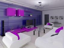 En stilfull vardagsrum med en stilfull inre och ett modernt funktionellt möblemang vektor illustrationer