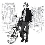En stilig grabb i jeans och ett omslag med en tappning cyklar på stadsgatan hipster också vektor för coreldrawillustration vektor illustrationer