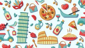 En stiliserad sammanställning av sikten av Italien arkivbild
