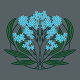 En stiliserad växt med blåa blommor Royaltyfria Bilder