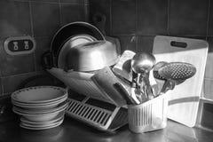 En stilleben i ett hörn av köket arkivbilder