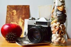 En stilllife med den gamla kameran Arkivfoto
