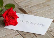 En stjälk av den röda rosen med förälskelse Arkivbilder