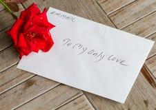 En stjälk av den röda rosen med förälskelse Arkivbild