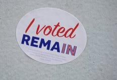 En stolpe-Brexit återstår klistermärken Fotografering för Bildbyråer