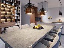 En stor äta middag tabell med en konkret worktop, hängande lampor för stor formgivare och sex stilfulla stolar vektor illustrationer