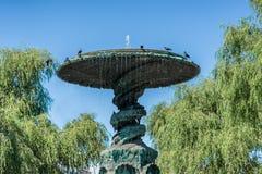 En stor bronsspringbrunnmonument med fåglar överst och omgeende träd i en stad parkerar i Stockholm Sverige Royaltyfri Foto