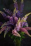 En stor bukett av färgrika lösa blommor av lupinen i en exponeringsglasvas Isolerat p? m?rk bakgrund closeup royaltyfri bild