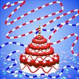 En stor födelsedagkaka Arkivbilder