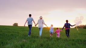 En stor familj med barn promenerar den gröna ängen in mot solnedgången lager videofilmer