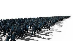 En stor folkmassa av levande död Apokalyps halloween begrepp Isolat på vit framförande 3d Royaltyfria Bilder