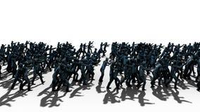 En stor folkmassa av levande död Apokalyps halloween begrepp Isolat på vit framförande 3d Royaltyfri Fotografi