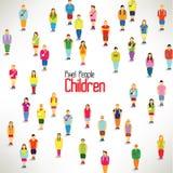 En stor grupp av barnhopsamlingdesignen Royaltyfria Foton