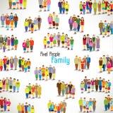En stor grupp av familjhopsamlingdesignen Arkivfoto