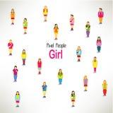 En stor grupp av flickahopsamlingdesignen Arkivbild
