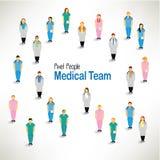 En stor grupp av hopsamlingdesignen för medicinskt lag Royaltyfria Foton