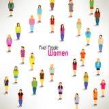 En stor grupp av kvinnahopsamlingdesignen Royaltyfria Bilder