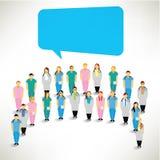 En stor grupp av medicinska Team Gather Together Vektor Illustrationer