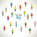 En stor grupp av pojkehopsamlingdesignen Fotografering för Bildbyråer