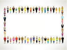 En stor grupp människorhopsamling tillsammans Arkivbild