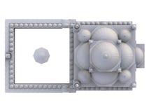 En stor muslimsk moské, en tredimensionell rasterillustration med konturlinjer som markerar detaljerna av konstruktion 3d ren Royaltyfria Bilder