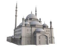 En stor muslimsk moské, en tredimensionell rasterillustration med konturlinjer som markerar detaljerna av konstruktion 3d ren Royaltyfri Foto