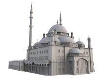 En stor muslimsk moské, en tredimensionell rasterillustration med konturlinjer som markerar detaljerna av konstruktion 3d ren Fotografering för Bildbyråer