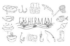 En stor samling av linjära manuella symboler för att fiska vektor Royaltyfri Fotografi
