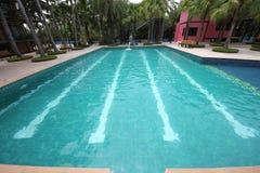 En stor simbassäng med klart vatten och platser i vatten i Nong Nooch den tropiska botaniska trädgården nära den Pattaya staden i Arkivbild