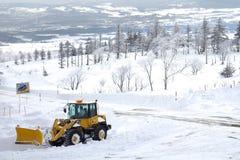 En stor snöstorm på snöbergområde i Hokkaido, Japan Arkivfoton